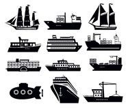 Boat and ship. Vector black boat and ship icons set Stock Images