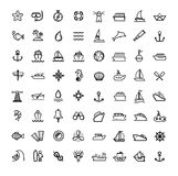 Vector black boat and ship icons set Royalty Free Stock Images