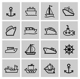 Vector black boat and ship icons set Stock Image