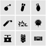Vector black bomb icon set Stock Photography