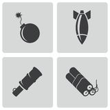 Vector black bomb icons set Royalty Free Stock Photo