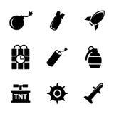 Vector black bomb icons set Stock Photos