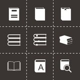 Vector black book icons set. On black background Royalty Free Stock Image