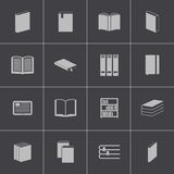 Vector black  book  icons set Royalty Free Stock Images