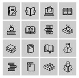 Vector black book icons set Stock Photography