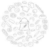 Vector black bread icon round set on white Royalty Free Stock Photo