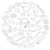 Vector black bread icon round set on white. Round Set of Bread line icons Royalty Free Stock Photo
