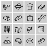 Vector black bread icon set Royalty Free Stock Image