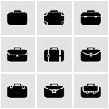 Vector black briefcase icon set.  Royalty Free Stock Images