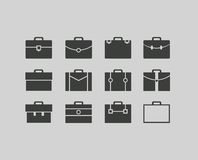 Vector black briefcase icons set background Stock Photography