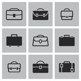 Vector black briefcase icons set Stock Image