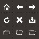 Vector black browser icon set. On black background Royalty Free Stock Photography