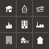 Vector black building icon set. On black background Stock Image