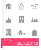 Vector black building icon set Royalty Free Stock Images