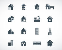 Vector black building icons Royalty Free Stock Photo