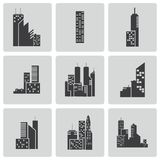 Vector black building icons set Stock Photography