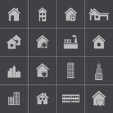 Vector black building icons set Royalty Free Stock Photography