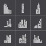 Vector black building icons set Stock Photos