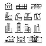Vector black buildings and factories icons set Stock Photos