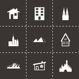 Vector black buildings icons set. On black background Stock Image