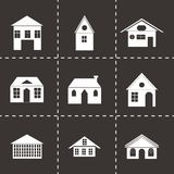 Vector black buildings icons set Royalty Free Stock Photography