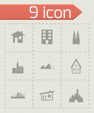 Vector black buildings icons set Royalty Free Stock Image
