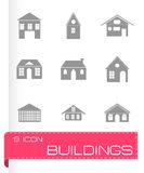 Vector black buildings icons set Stock Photography
