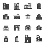 Vector black buildings icons set. On white background Stock Photography