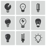 Vector black bulbs icons set Stock Images