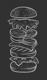 Vector black burger. Hand drawn vector of jumping burger ingredients Stock Images