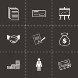 Vector black business icons set. On black background Royalty Free Stock Photo