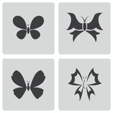 Vector black buttefly icons set Royalty Free Stock Photography