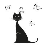 Vector black butterfly and cat is sitting. Graphic image kitty. Vector illustration kitten Royalty Free Stock Photography