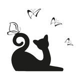 Vector black butterfly and cat is sitting. Graphic image kitty. Vector illustration Royalty Free Stock Photo