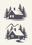 Vector black cabin. Icon on white background Stock Images