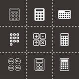Vector black calculator icon set. On black background Stock Photo