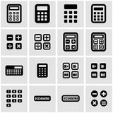 Vector black calculator icon set. On grey background Royalty Free Stock Photography