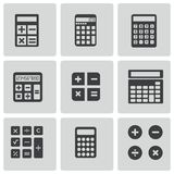 Vector black calculator icons set Stock Photography
