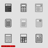 Vector black calculator icons set Stock Photos