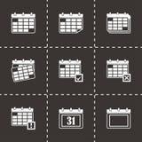 Vector black calendar icon set Stock Photography