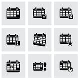 Vector black calendar icon set Stock Photo