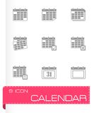 Vector black calendar icon set Stock Photography