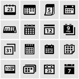 Vector black calendar icon set Stock Photos