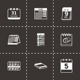 Vector black calendar icons set Royalty Free Stock Photography