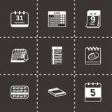 Vector black calendar icons set. On black background Royalty Free Stock Photography