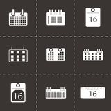 Vector black calendar icons set Royalty Free Stock Images