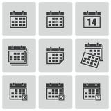 Vector black calendar icons set Royalty Free Stock Photo