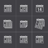 Vector black calendar icons set Stock Image