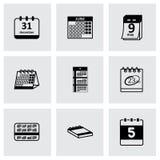 Vector black calendar icons set Royalty Free Stock Photos