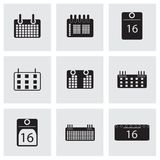 Vector black calendar icons set Stock Image